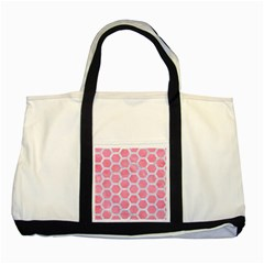 HEXAGON2 WHITE MARBLE & PINK WATERCOLOR Two Tone Tote Bag