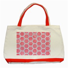 HEXAGON2 WHITE MARBLE & PINK WATERCOLOR Classic Tote Bag (Red)