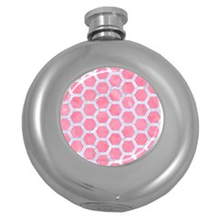 HEXAGON2 WHITE MARBLE & PINK WATERCOLOR Round Hip Flask (5 oz)