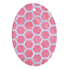 HEXAGON2 WHITE MARBLE & PINK WATERCOLOR Oval Ornament (Two Sides)
