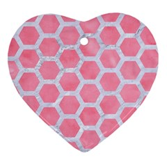 HEXAGON2 WHITE MARBLE & PINK WATERCOLOR Heart Ornament (Two Sides)