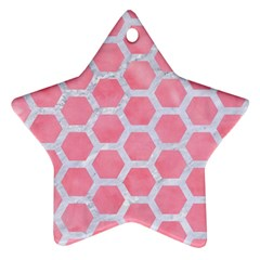 HEXAGON2 WHITE MARBLE & PINK WATERCOLOR Star Ornament (Two Sides)