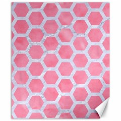HEXAGON2 WHITE MARBLE & PINK WATERCOLOR Canvas 8  x 10