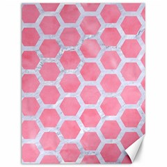 HEXAGON2 WHITE MARBLE & PINK WATERCOLOR Canvas 12  x 16