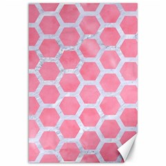 HEXAGON2 WHITE MARBLE & PINK WATERCOLOR Canvas 12  x 18