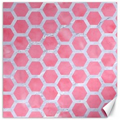 HEXAGON2 WHITE MARBLE & PINK WATERCOLOR Canvas 16  x 16