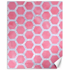 HEXAGON2 WHITE MARBLE & PINK WATERCOLOR Canvas 16  x 20