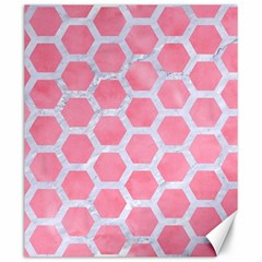 HEXAGON2 WHITE MARBLE & PINK WATERCOLOR Canvas 20  x 24