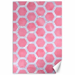 HEXAGON2 WHITE MARBLE & PINK WATERCOLOR Canvas 20  x 30