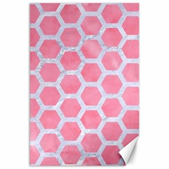 HEXAGON2 WHITE MARBLE & PINK WATERCOLOR Canvas 24  x 36