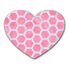 HEXAGON2 WHITE MARBLE & PINK WATERCOLOR Heart Mousepads