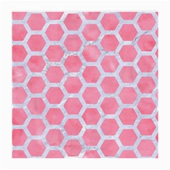 HEXAGON2 WHITE MARBLE & PINK WATERCOLOR Medium Glasses Cloth (2-Side)