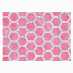 HEXAGON2 WHITE MARBLE & PINK WATERCOLOR Large Glasses Cloth (2-Side)