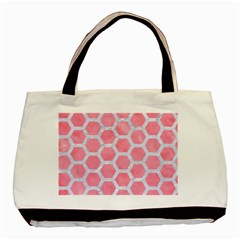 HEXAGON2 WHITE MARBLE & PINK WATERCOLOR Basic Tote Bag (Two Sides)