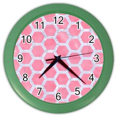 HEXAGON2 WHITE MARBLE & PINK WATERCOLOR Color Wall Clocks