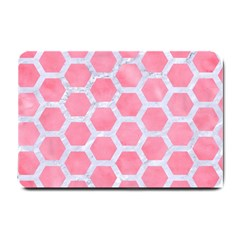 HEXAGON2 WHITE MARBLE & PINK WATERCOLOR Small Doormat