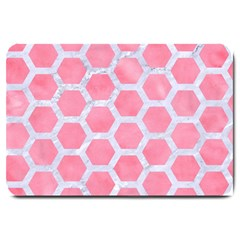 HEXAGON2 WHITE MARBLE & PINK WATERCOLOR Large Doormat