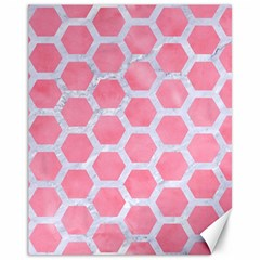 HEXAGON2 WHITE MARBLE & PINK WATERCOLOR Canvas 11  x 14