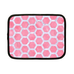 HEXAGON2 WHITE MARBLE & PINK WATERCOLOR Netbook Case (Small)