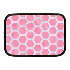HEXAGON2 WHITE MARBLE & PINK WATERCOLOR Netbook Case (Medium)