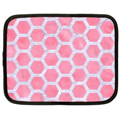 HEXAGON2 WHITE MARBLE & PINK WATERCOLOR Netbook Case (Large)