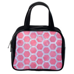 HEXAGON2 WHITE MARBLE & PINK WATERCOLOR Classic Handbags (One Side)