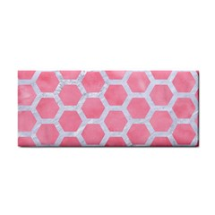 HEXAGON2 WHITE MARBLE & PINK WATERCOLOR Hand Towel