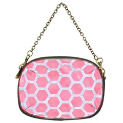 HEXAGON2 WHITE MARBLE & PINK WATERCOLOR Chain Purses (One Side)