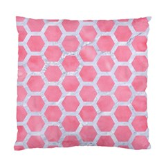 HEXAGON2 WHITE MARBLE & PINK WATERCOLOR Standard Cushion Case (One Side)