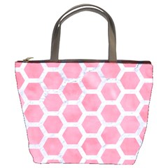 HEXAGON2 WHITE MARBLE & PINK WATERCOLOR Bucket Bags