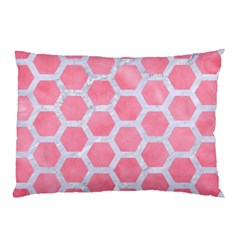 HEXAGON2 WHITE MARBLE & PINK WATERCOLOR Pillow Case