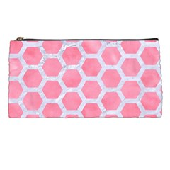 HEXAGON2 WHITE MARBLE & PINK WATERCOLOR Pencil Cases