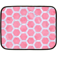 HEXAGON2 WHITE MARBLE & PINK WATERCOLOR Double Sided Fleece Blanket (Mini)