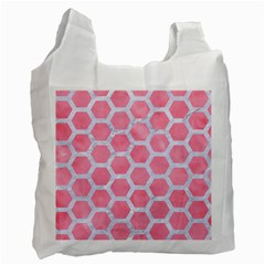 HEXAGON2 WHITE MARBLE & PINK WATERCOLOR Recycle Bag (One Side)