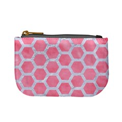 HEXAGON2 WHITE MARBLE & PINK WATERCOLOR Mini Coin Purses