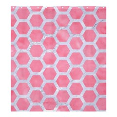 HEXAGON2 WHITE MARBLE & PINK WATERCOLOR Shower Curtain 66  x 72  (Large)