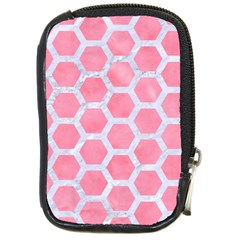 HEXAGON2 WHITE MARBLE & PINK WATERCOLOR Compact Camera Cases