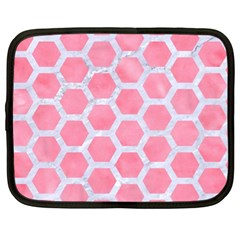 HEXAGON2 WHITE MARBLE & PINK WATERCOLOR Netbook Case (XL)