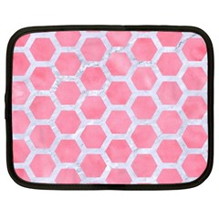HEXAGON2 WHITE MARBLE & PINK WATERCOLOR Netbook Case (XXL)