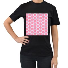 HEXAGON2 WHITE MARBLE & PINK WATERCOLOR Women s T-Shirt (Black)