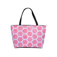 HEXAGON2 WHITE MARBLE & PINK WATERCOLOR Shoulder Handbags