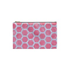HEXAGON2 WHITE MARBLE & PINK WATERCOLOR Cosmetic Bag (Small)