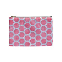 HEXAGON2 WHITE MARBLE & PINK WATERCOLOR Cosmetic Bag (Medium)