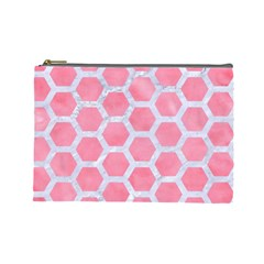 HEXAGON2 WHITE MARBLE & PINK WATERCOLOR Cosmetic Bag (Large)