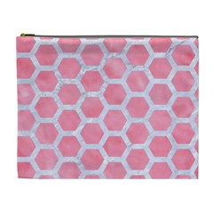 HEXAGON2 WHITE MARBLE & PINK WATERCOLOR Cosmetic Bag (XL)