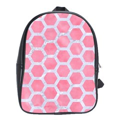 HEXAGON2 WHITE MARBLE & PINK WATERCOLOR School Bag (Large)