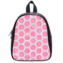 HEXAGON2 WHITE MARBLE & PINK WATERCOLOR School Bag (Small)