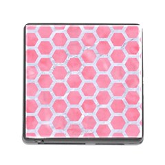 HEXAGON2 WHITE MARBLE & PINK WATERCOLOR Memory Card Reader (Square)