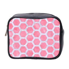 HEXAGON2 WHITE MARBLE & PINK WATERCOLOR Mini Toiletries Bag 2-Side