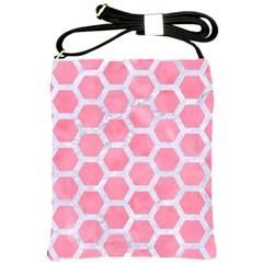 HEXAGON2 WHITE MARBLE & PINK WATERCOLOR Shoulder Sling Bags